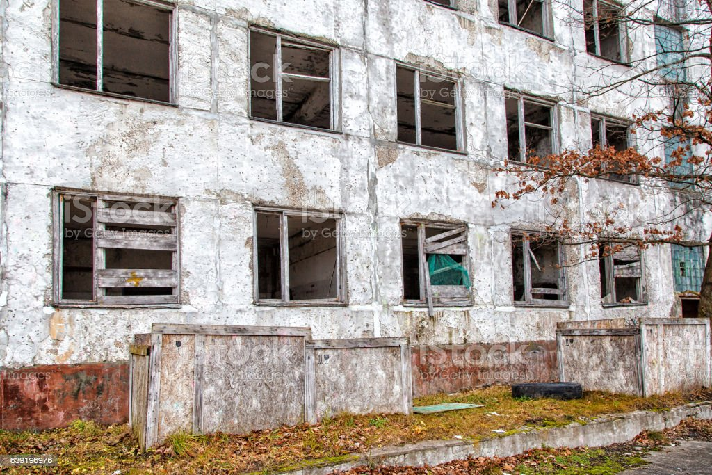 old abandoned high-rise building stock photo