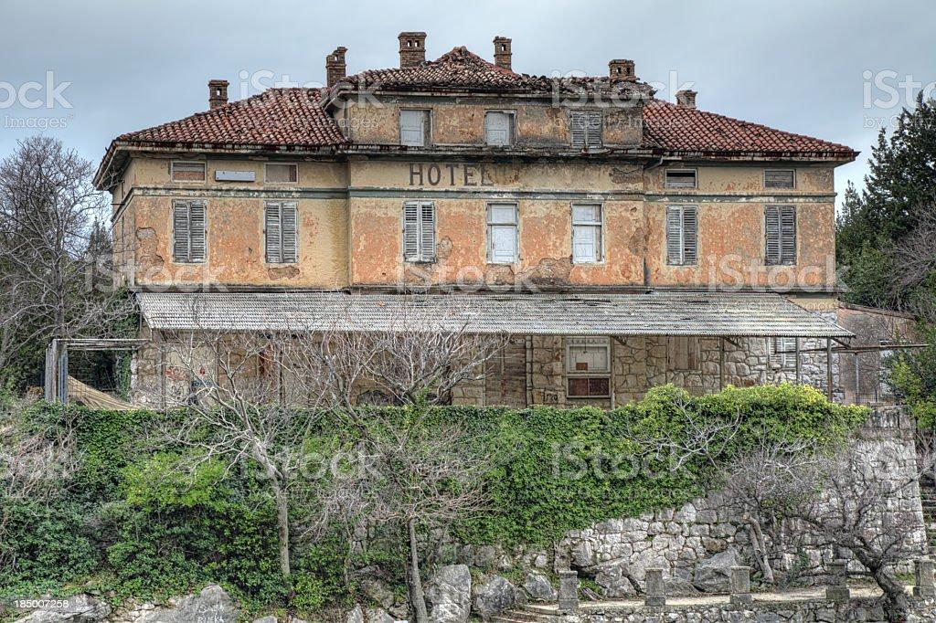 Old abandoned hotel stock photo