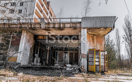 Chernobyl Exclusion Zone, Ukraine. Abandoned houses of the ghost town of Pripyat. The destructive consequences of a nuclear explosion at a nuclear reactor of the Chernobyl nuclear power plant