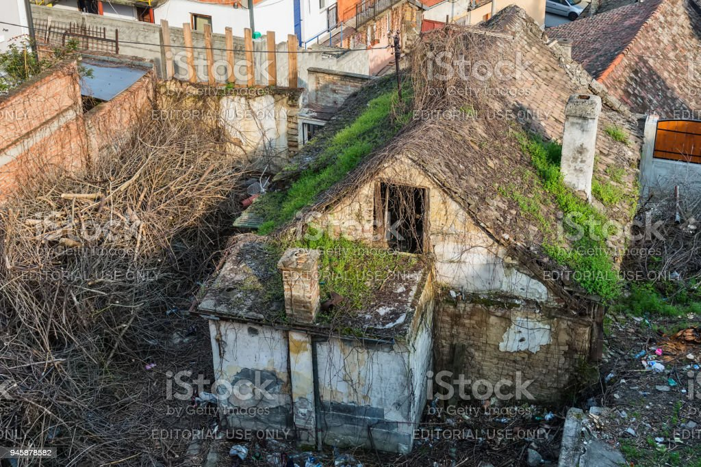 Old abandoned house in the old part of Zemun, Serbia stock photo