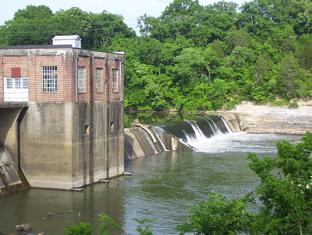 Old Abandoned Hydroelectric Building in a Park inTennessee stock photo