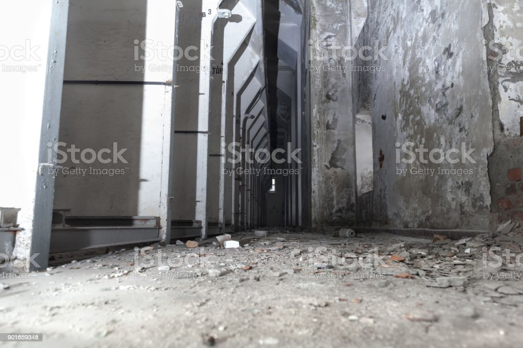 Old abandoned mine electricity central from early sixties in Sarisap, Hungary. stock photo