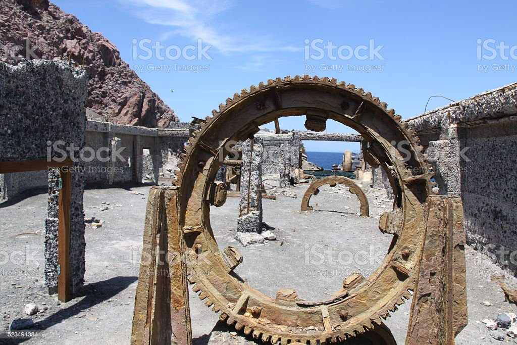 Old abandoned mining village on active volcano stock photo