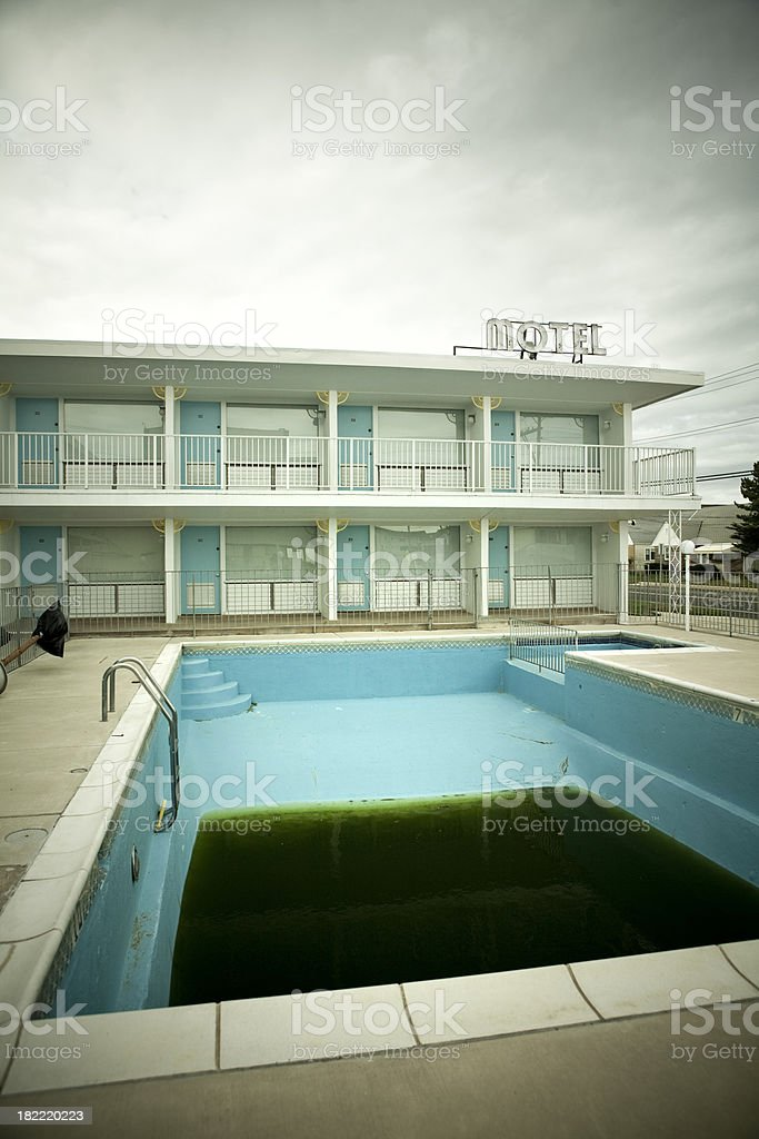Old abandoned motel stock photo