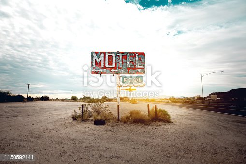 Old abandoned motel sign in Arizona