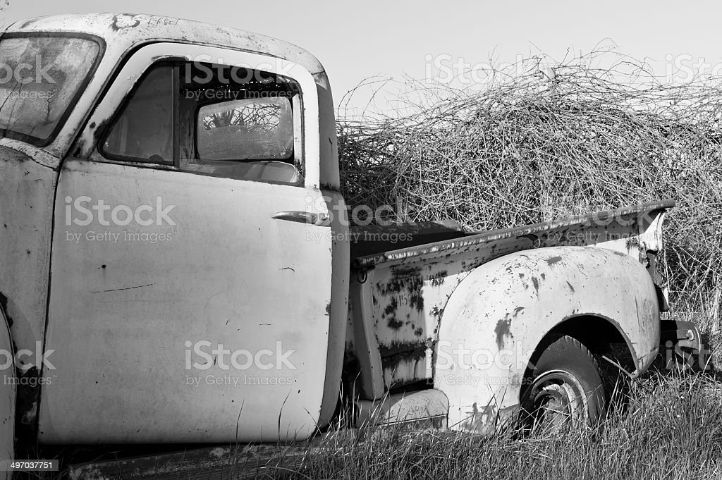 old abandoned pick-up truck royalty-free stock photo
