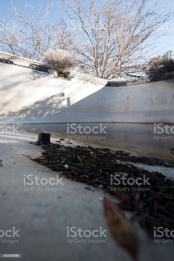 Old abandoned pool stock photo
