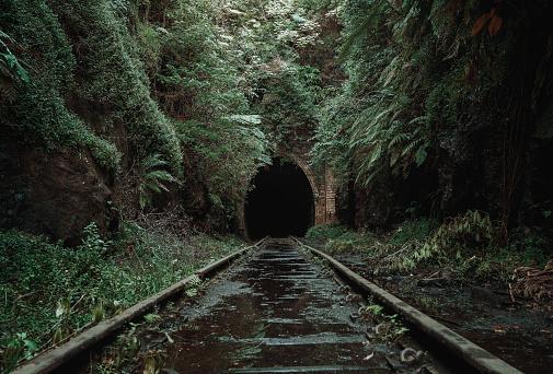 Old, abandoned railway tunnel
