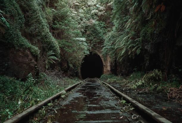 Old, abandoned railway tunnel stock photo