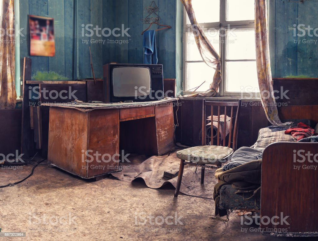 old abandoned room stock photo
