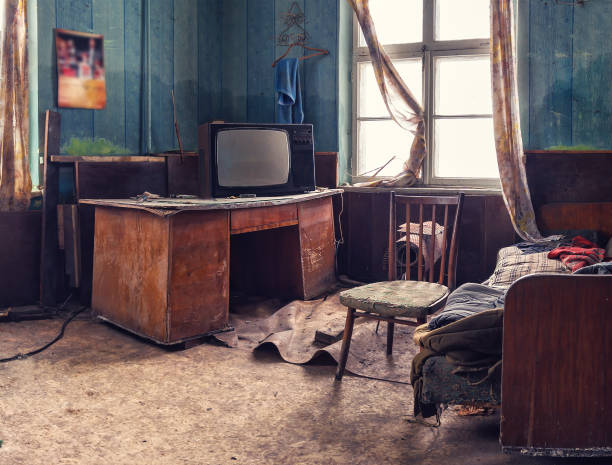 old abandoned room old abandoned room with vintage things derelict stock pictures, royalty-free photos & images