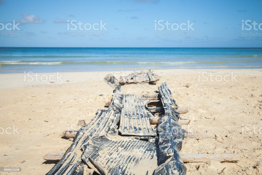 Old abandoned slipway on Macao beach royalty-free 스톡 사진