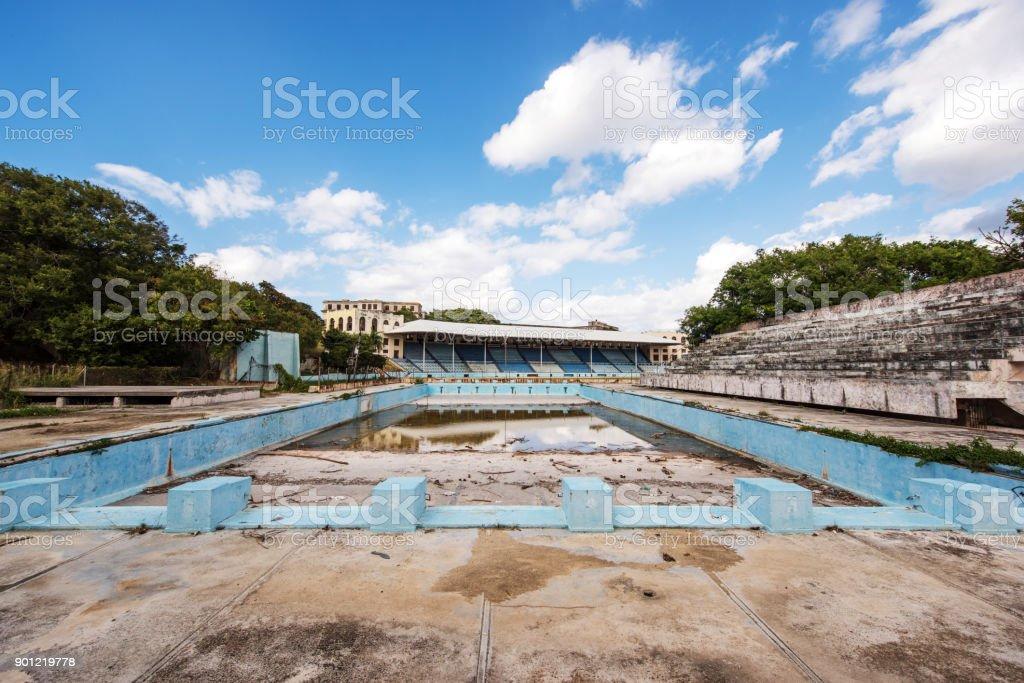 Old abandoned sports stadium in Havana, Cuba stock photo