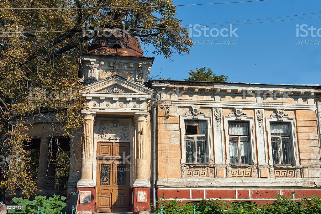 old abandoned stone house built in the 18th century stock photo