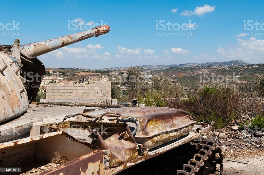 Old abandoned tank in southern Lebanon stock photo