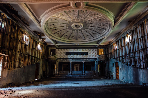Old abandoned theater hall