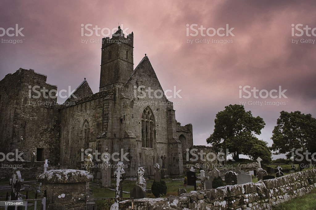 Old abbey with a cemetery royalty-free stock photo