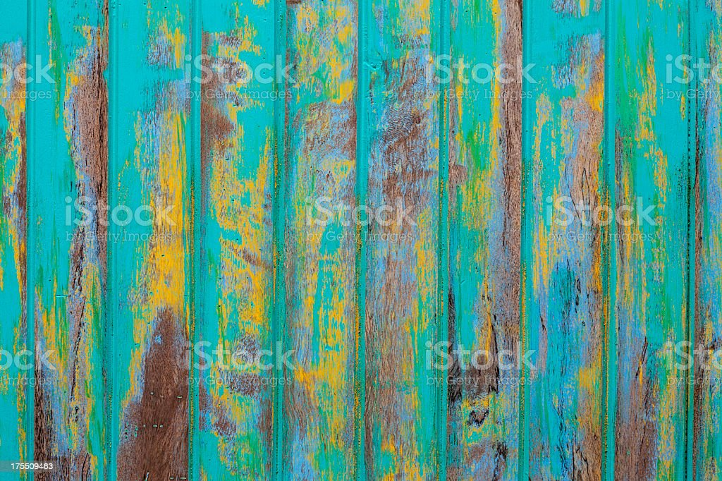 Old abstact turquoise wooden board texture. stock photo