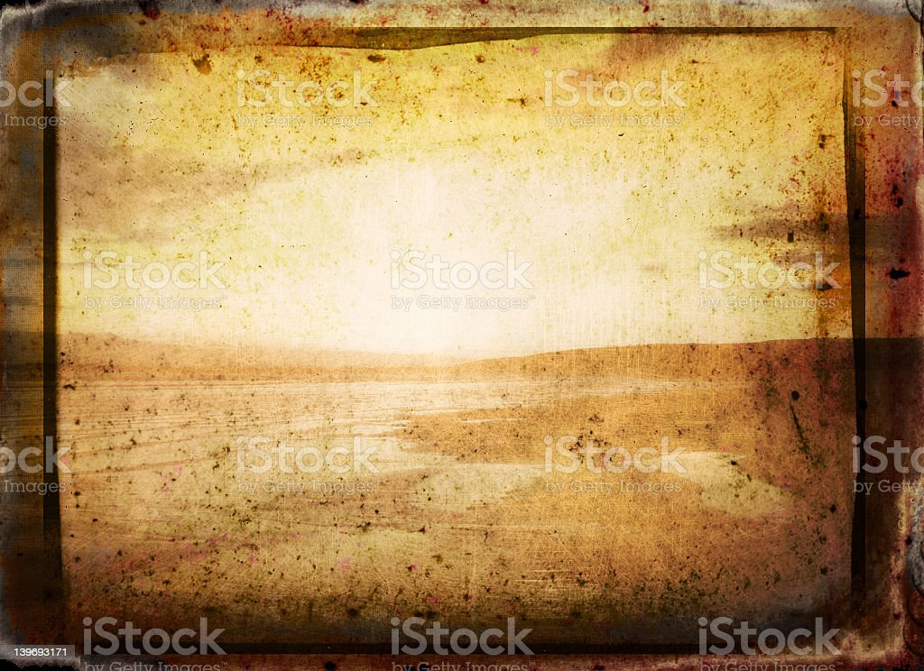 Old abstract photo of a sunset over a river royalty-free stock photo