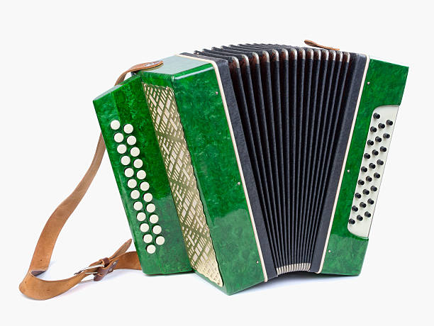 old accordion isolated on white - accordion stock photos and pictures