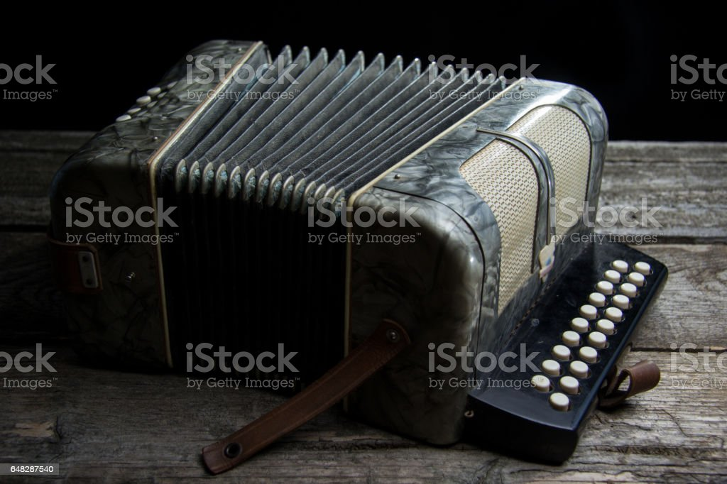Old accordion with wine stock photo