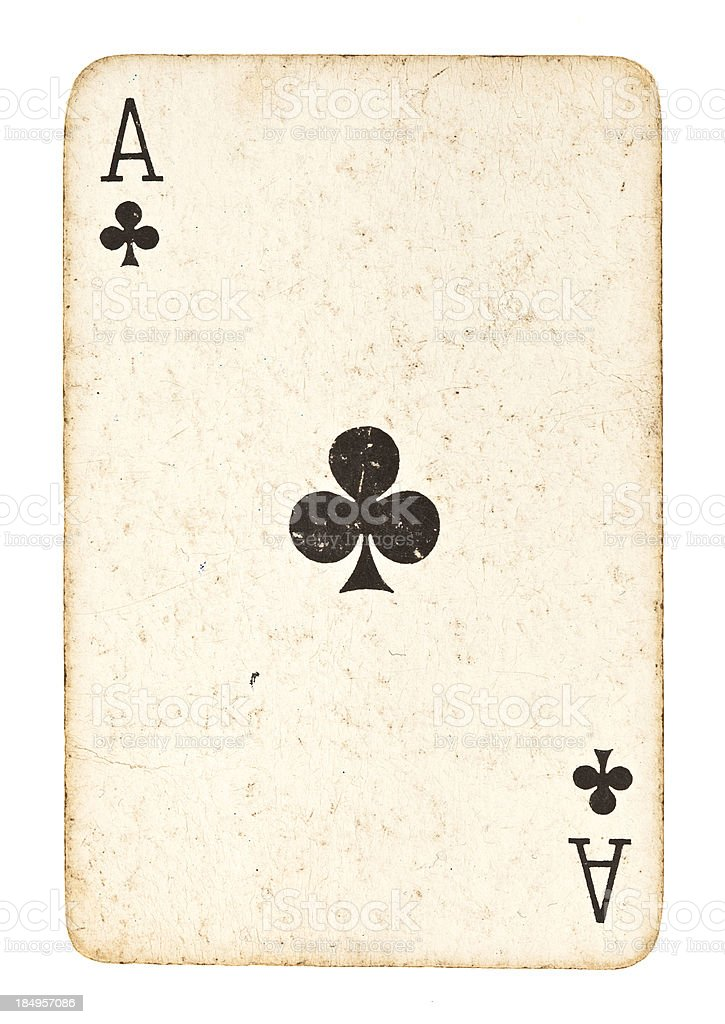 Old Ace of Clubs Isolated on White royalty-free stock photo