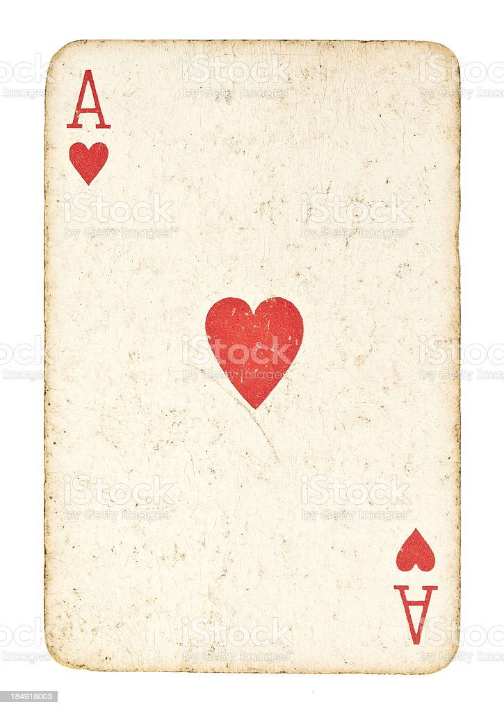 Old Ace of Hearts Isolated on White royalty-free stock photo