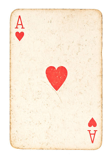 Old Ace of Hearts Isolated on White stock photo