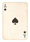 istock Old Ace of Spades Isolated on White 184957089