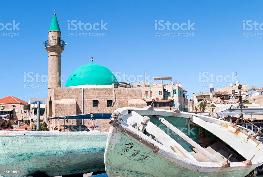 Old Acre and the Sea Mosque stock photo
