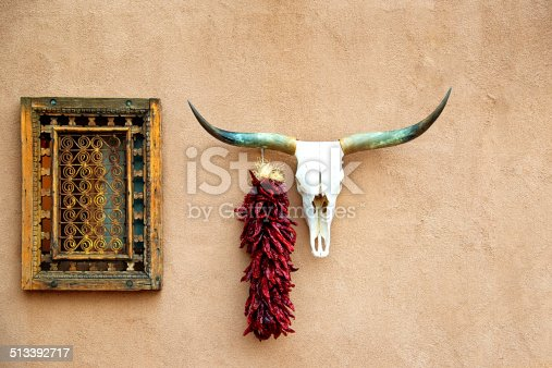 Old Adobe House with Stucco Wall and Flowers