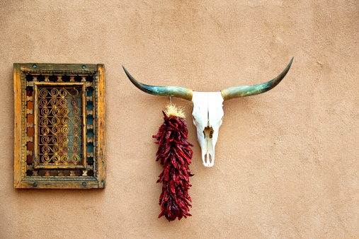 istock Old Adobe House, Animal Skull and Hanging Chili Peppers  Ristra 513392717