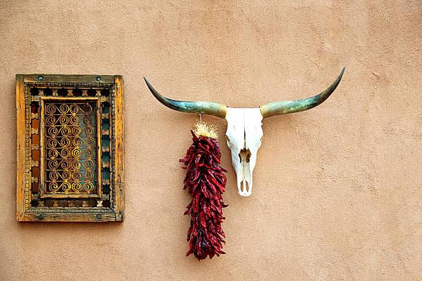 vieille brique house avec motif de crâne d'animal et de suspendre chili peppers - adobe photos et images de collection
