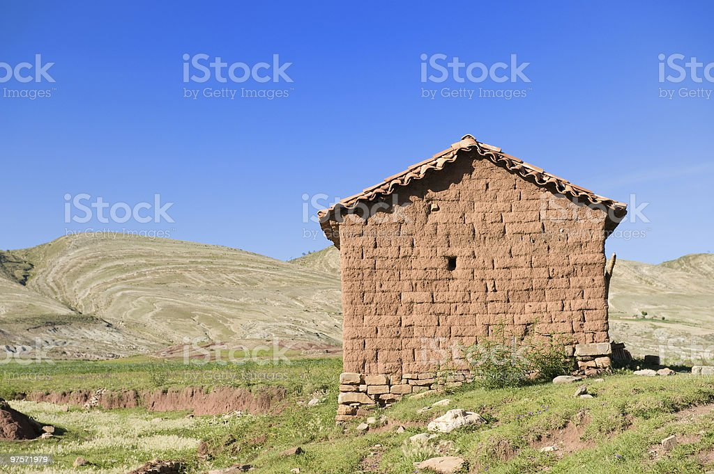 Old adobe hut, Bolivia. royalty-free stock photo
