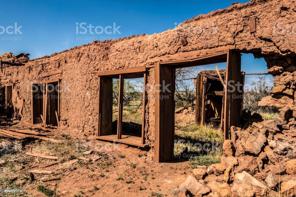 Old adobe wall stock photo