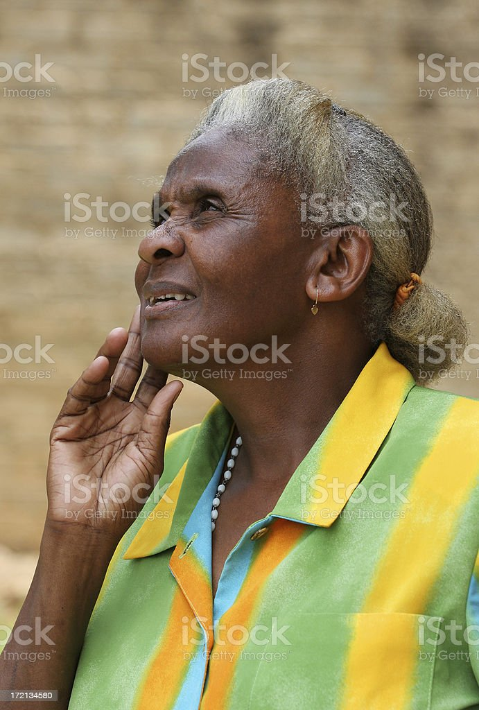 Old African Lady Reminiscing three royalty-free stock photo