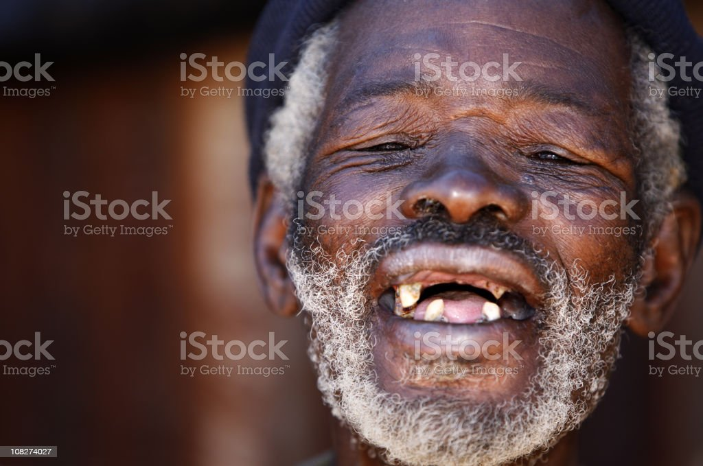 Old African laughing stock photo