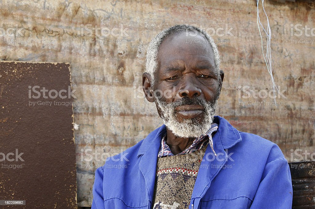 Old African man serious stock photo
