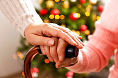 istock Old age woman at home on Charistmas eve. 1071063202