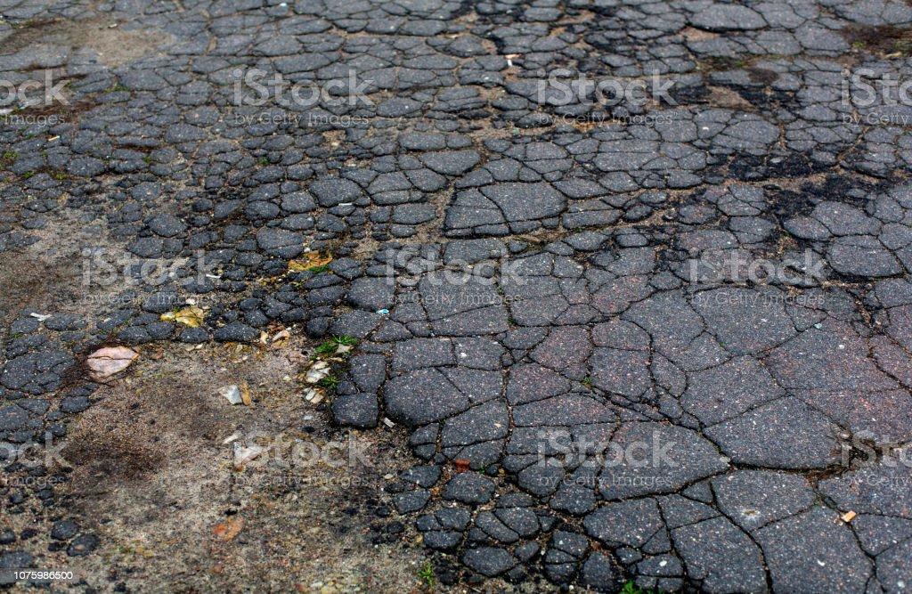 Old aged grey cracked asphalt road surface - Royalty-free Asphalt Stock Photo