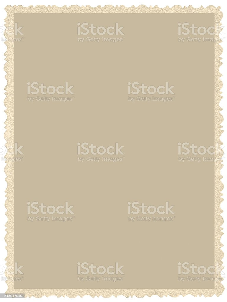 Old aged grunge edge sepia photo, blank empty vertical isolated stock photo