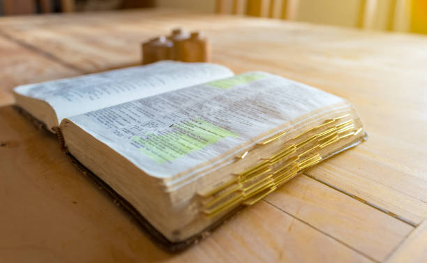 Old aged leather bound bible stock photo
