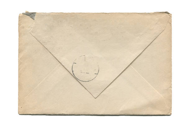 old aged paper envelope isolated on white stock photo
