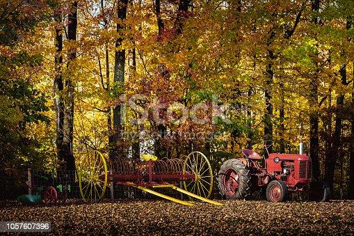 En bordure d'un forêt en automne de veilles machines d'agriculture.