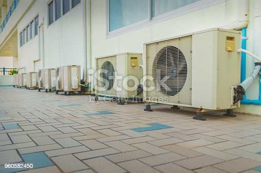 947099530 istock photo Old Air Compressors Installed outdoors. 960582450