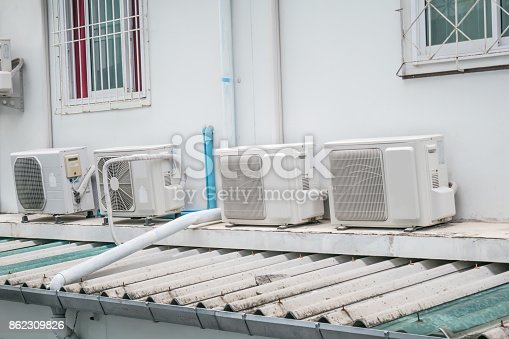istock old air conditioner compressor installed on beside building 862309826