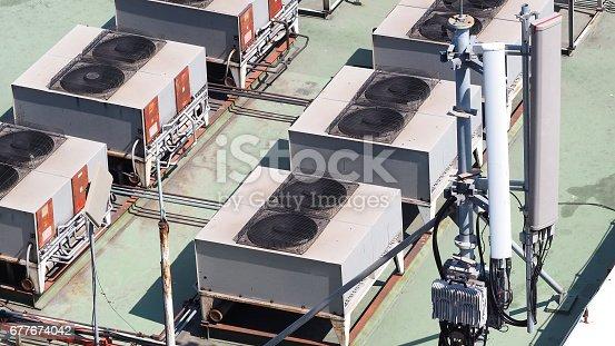 istock Old air conditioner Compressor. 677674042