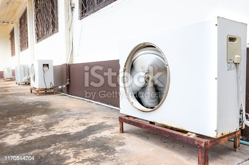1132460292istockphoto Old air conditioner outdoor unit, The air conditioner rusted. 1170844204