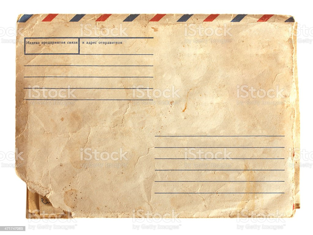 old air envelope with stamp stock photo