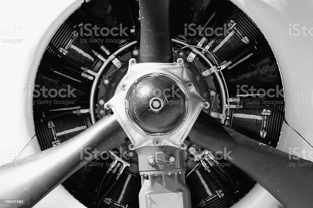 old aircraft engine in b&w stock photo
